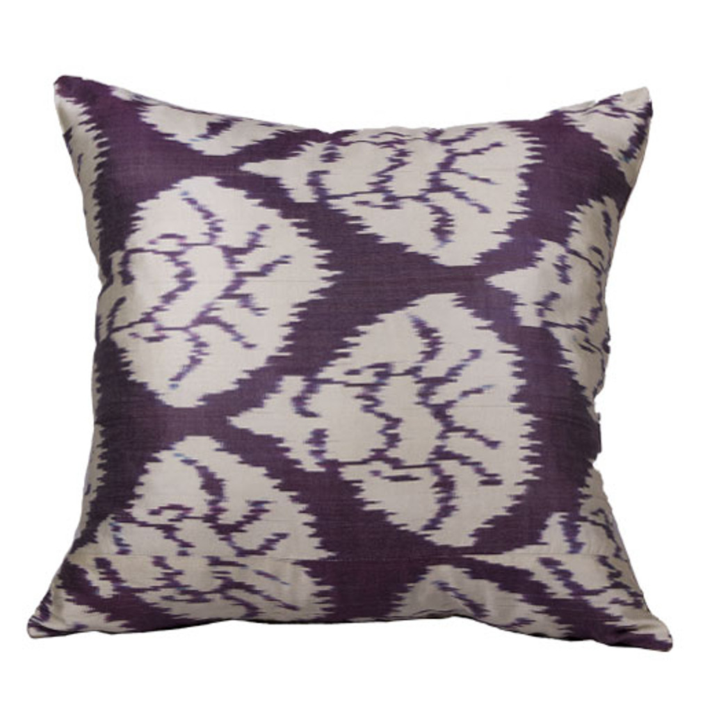 Ikat Pillow, Eggplant & White