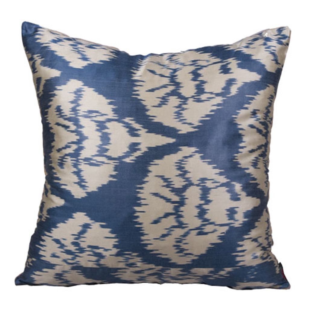 Ikat Pillow, Blue & White