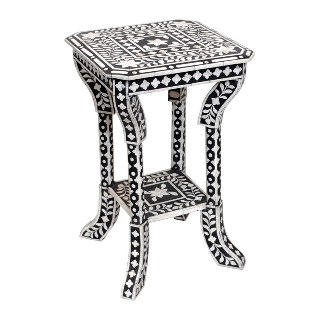 Indian Bone Inlaid Side Table, Black
