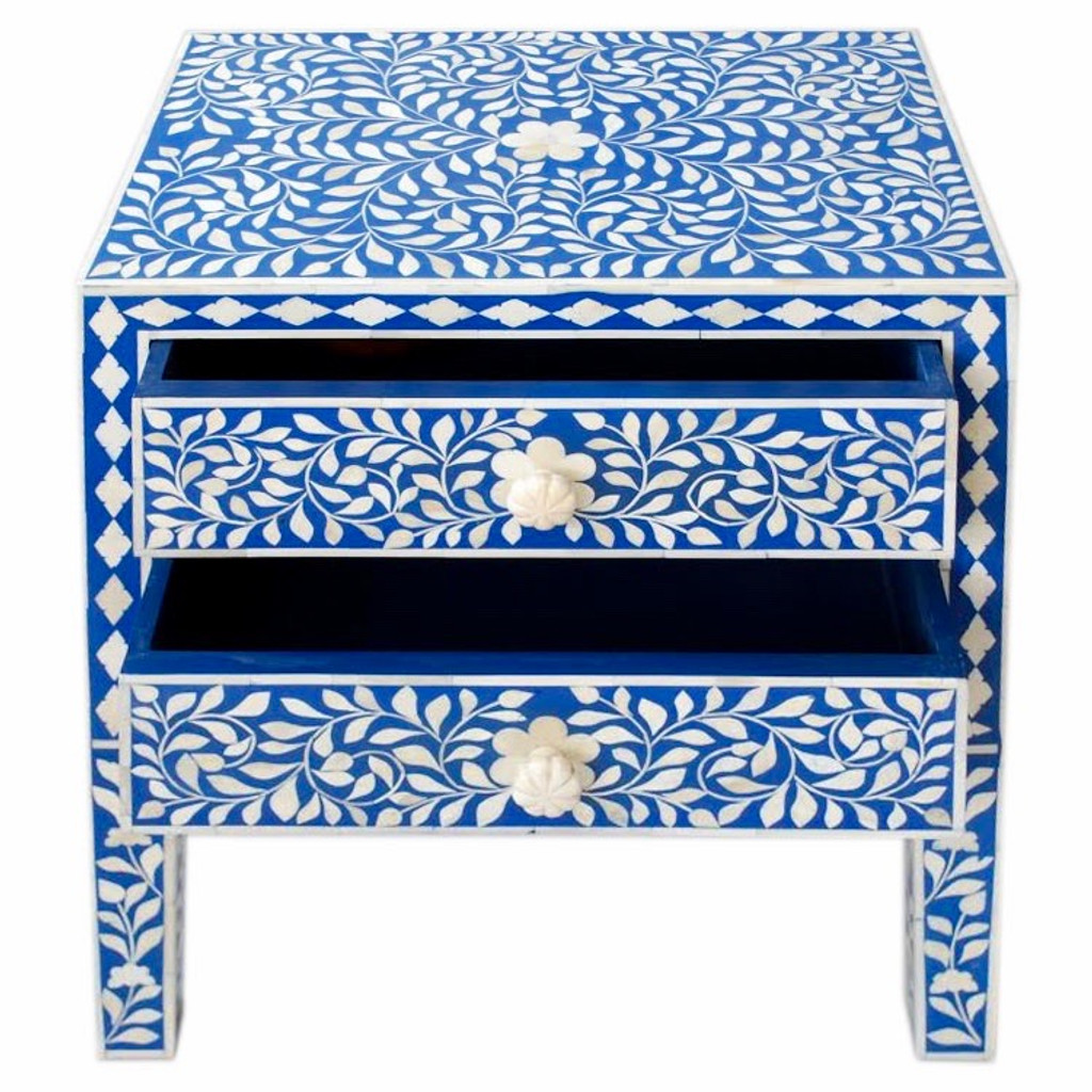 Indian Bone Inlaid Nightstand Table