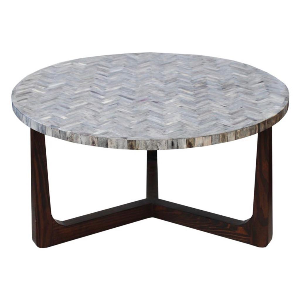 """R70 Bone Inlaid Coffee Table, Grey 30"""""""