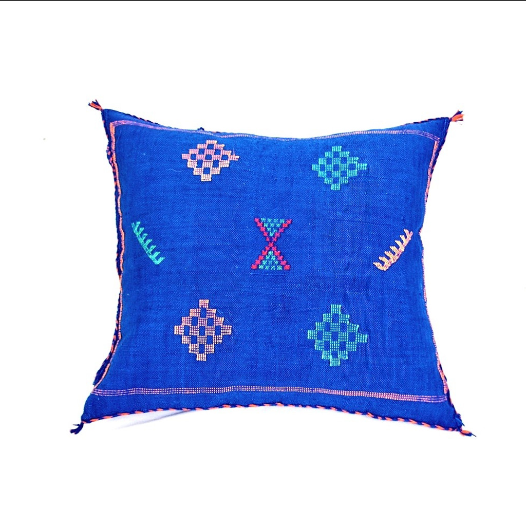 Sabra Throw Pillow, Cobalt  Blue 3