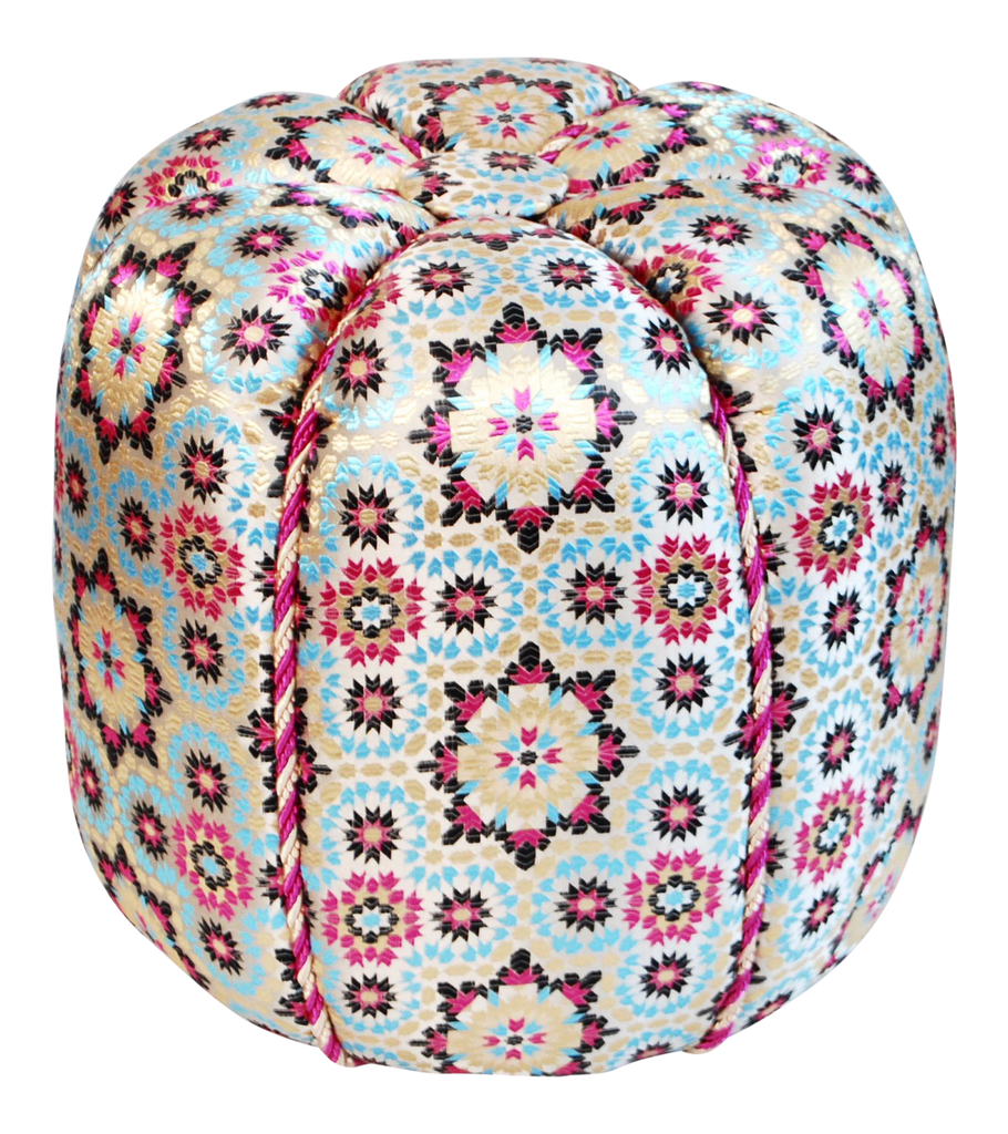 Moroccan Fabric Pouf, Pink Zellig