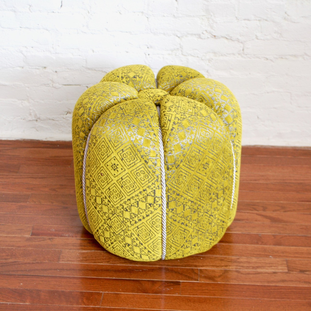 Moroccan Fabric Pouf, Green