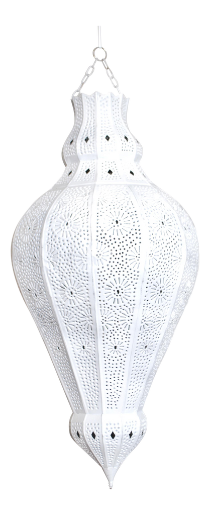 Moroccan White Painted Metal Lamp