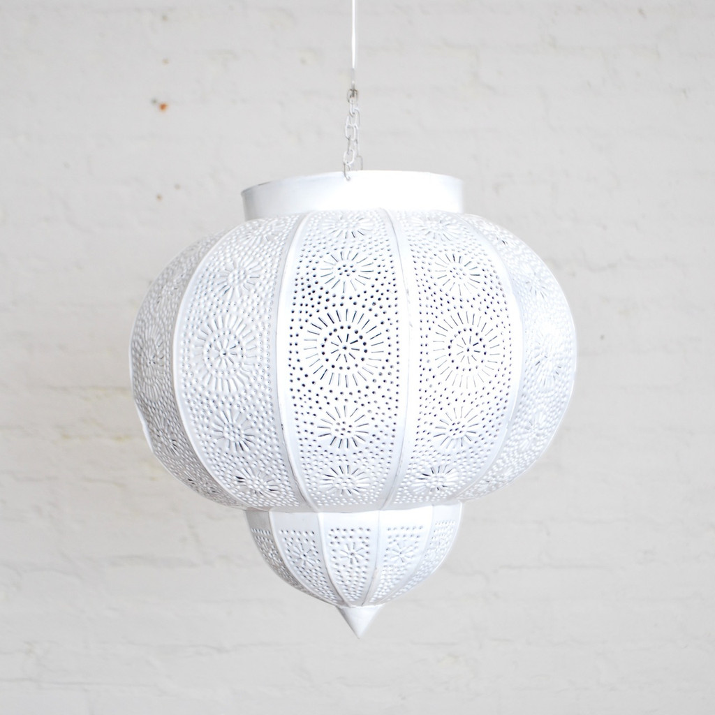 Moroccan White Painted Metal Hanging Lamp