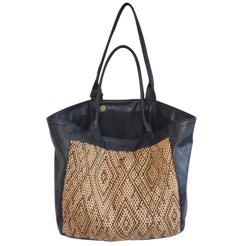 Moroccan Kilim and Leather  Bag