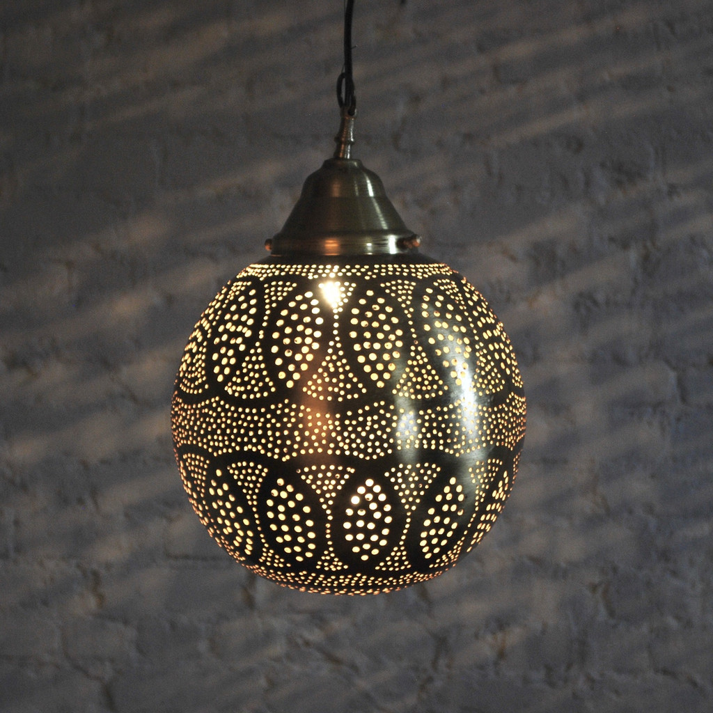 Moroccan Brass Round Lamp
