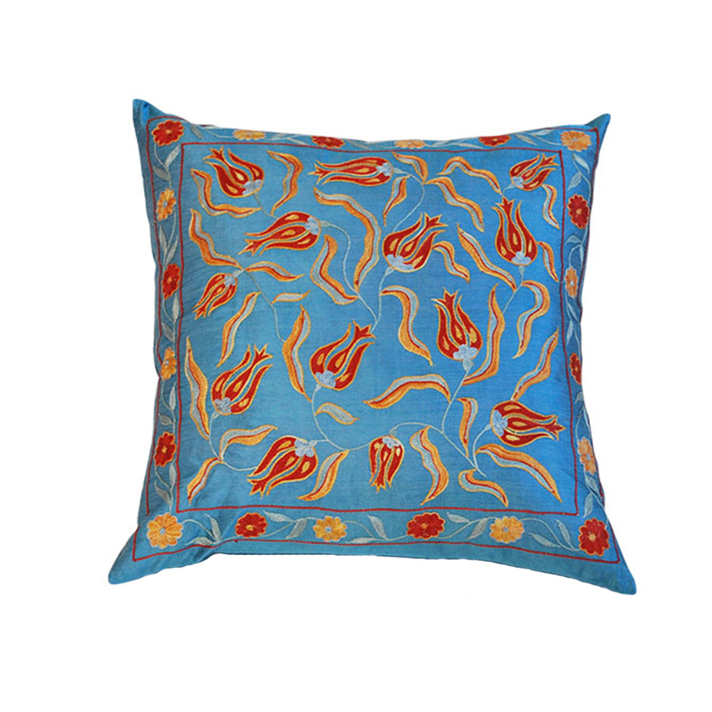 Suzani Pillow- Blue Tulips