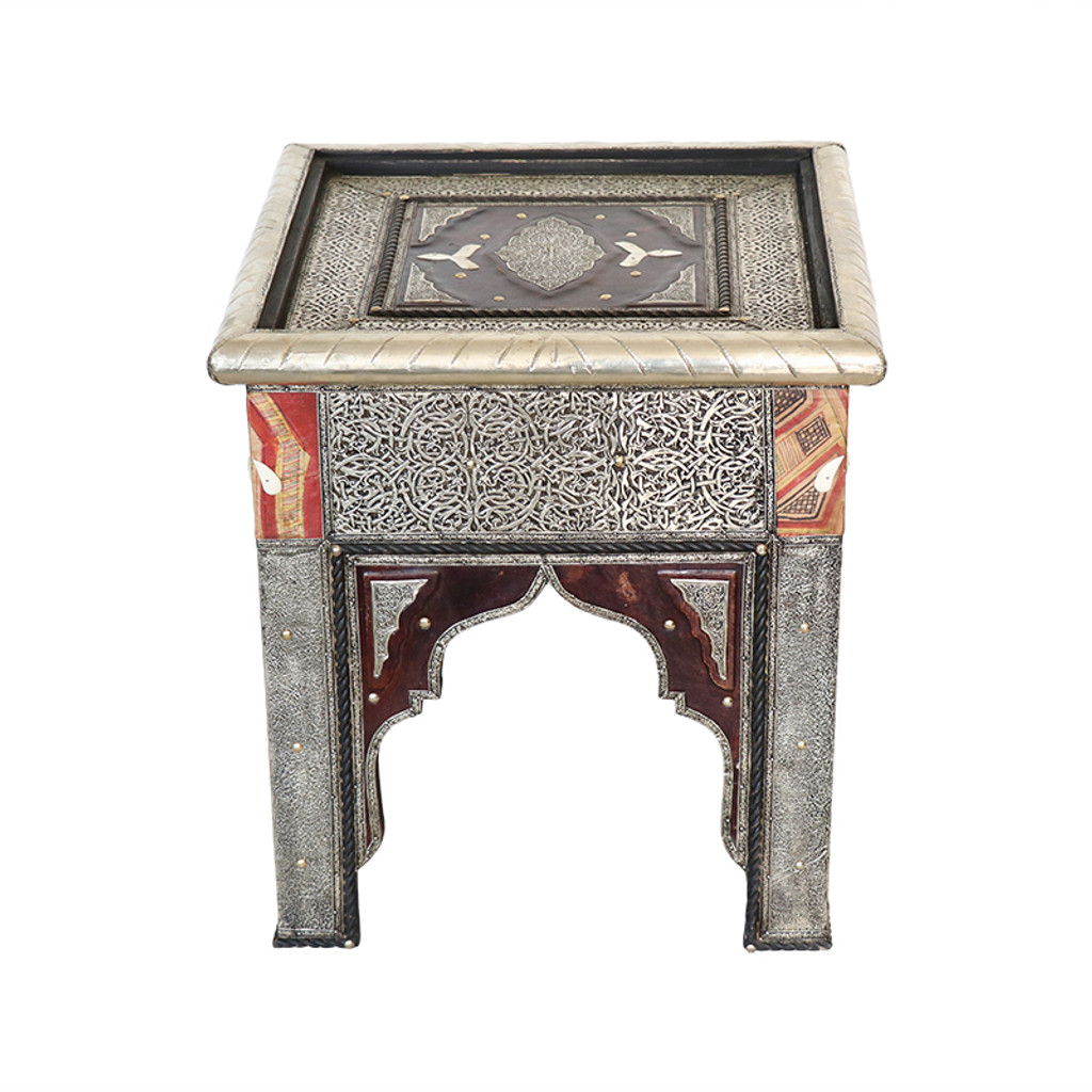 Moroccan Metal & Touareg leather End Table