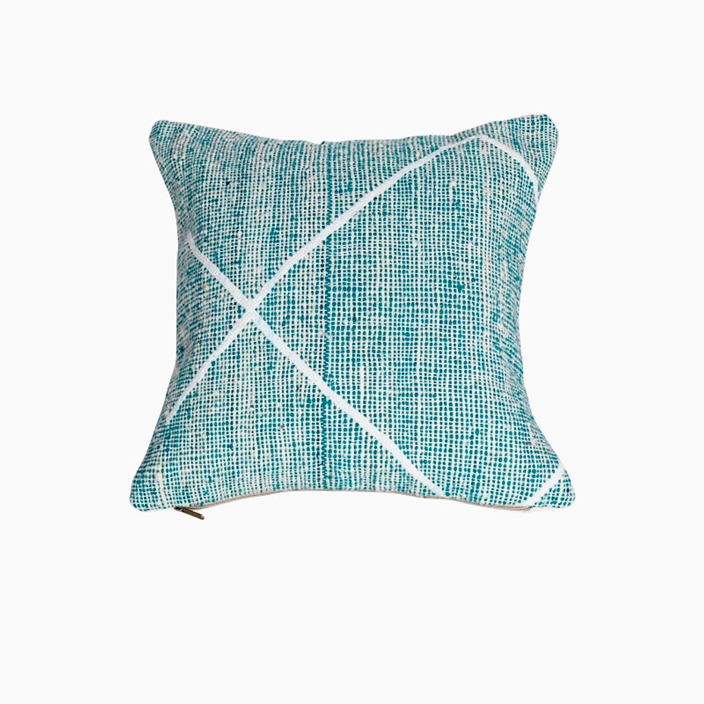 Beni Ourain Rug Pillow- Teal