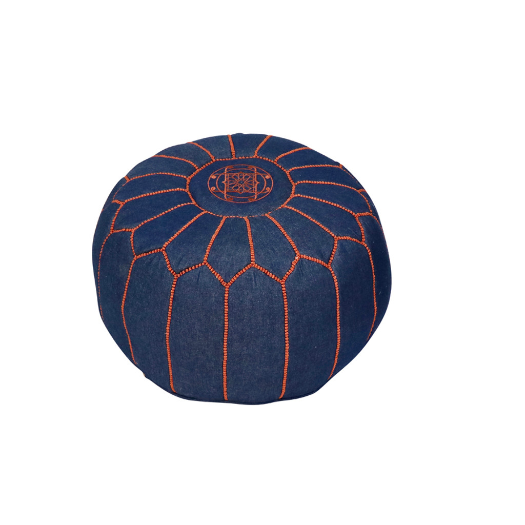 Moroccan Denim & Leather Pouf- Olya Brown