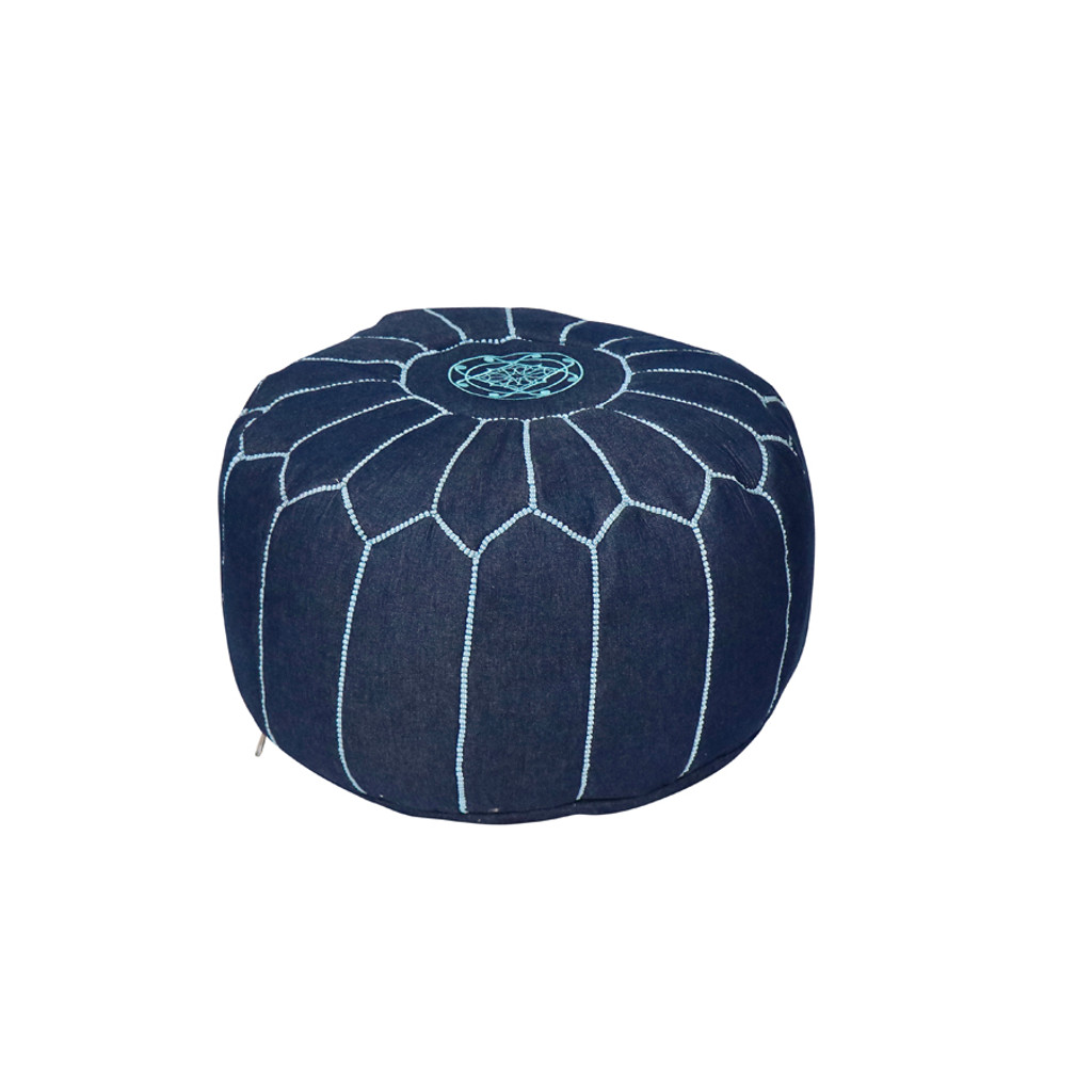 Moroccan Denim Pouf- Olya Blue