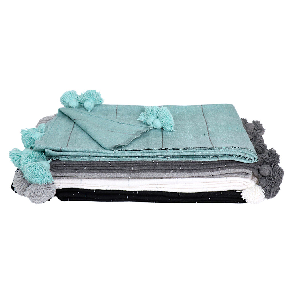 Moroccan  Pom Pom Blanket/ Black