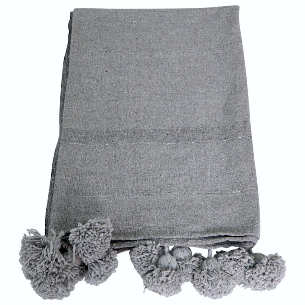 Moroccan Pom Pom Blanket / Light Grey