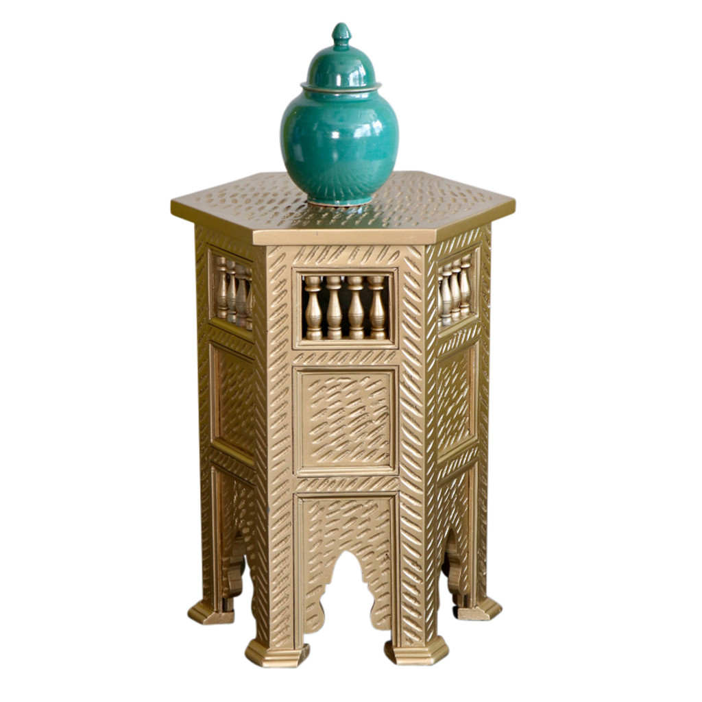 Moroccan Gold Wooden Side table