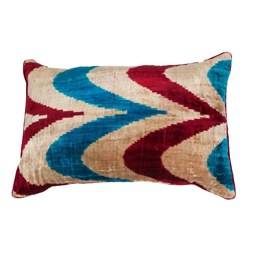 Ikat Pillow Contemporary Velvet Blue and Red