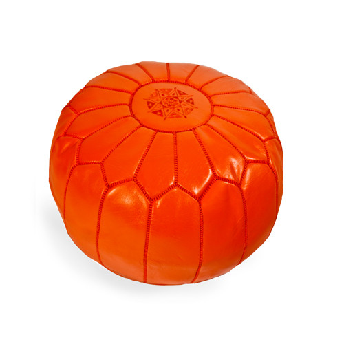 Moroccan Pouf Orange Leather