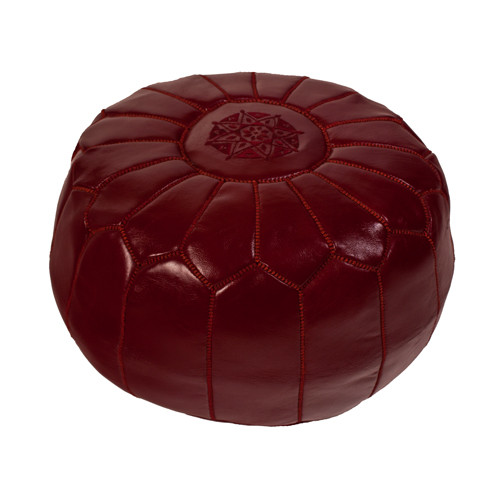 Moroccan Pouf Burgundy Leather