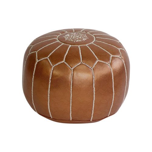 Moroccan Copper Leather Pouf