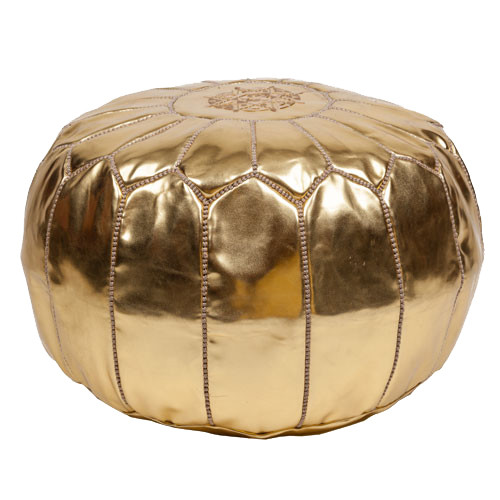 Moroccan Pouf Gold Metallic Leather