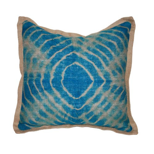 Tie dye teal burlap pillow