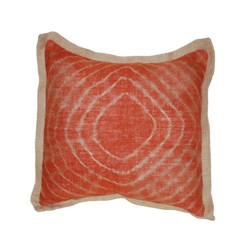 Tie dye orange burlap pillow