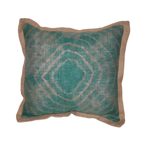 Tie dye turquoise burlap pillow