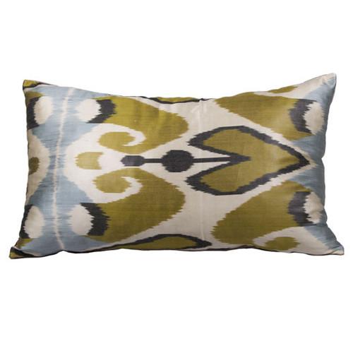 Ikat Pillow, Blue & Gold