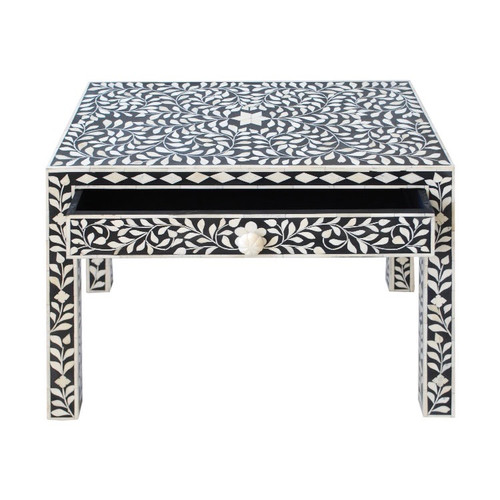 Indian Bone Inlaid Night Stand, Black