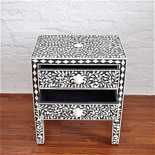 Indian Bone Inlaid Nightstand Table, 2 Drawers Black
