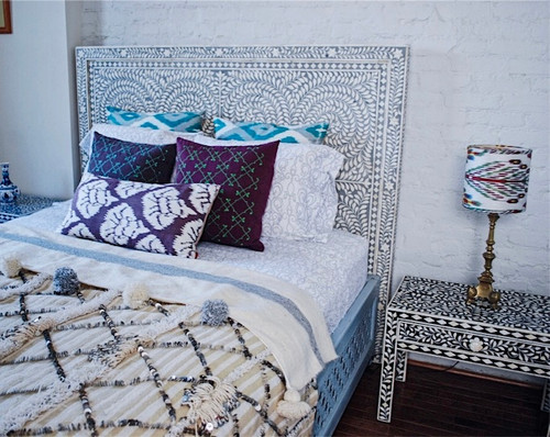 Indian Bone Inlaid Queen Headboard,Grey and Brown