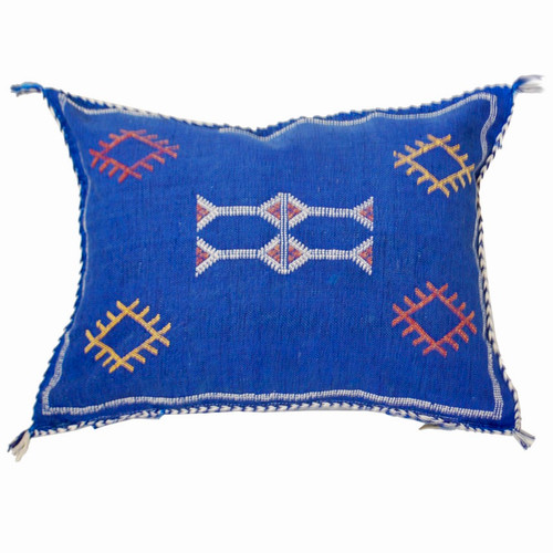 Moroccan Berber Sabra Throw Pillow, Blue Indigo 3