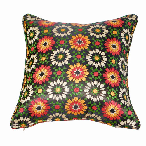 Moroccan Zellij Fabric Throw Pillow , Black