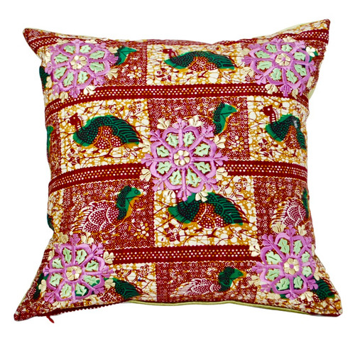 African Rabati  Embroidery Throw Pillow