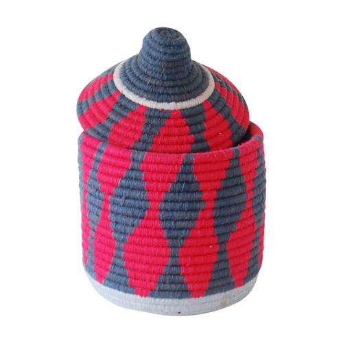 Moroccan Bread Basket, Coral & Grey
