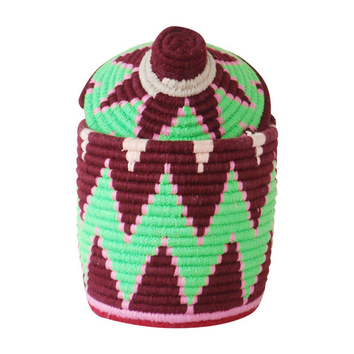 Moroccan Bread Basket, Plum and Green