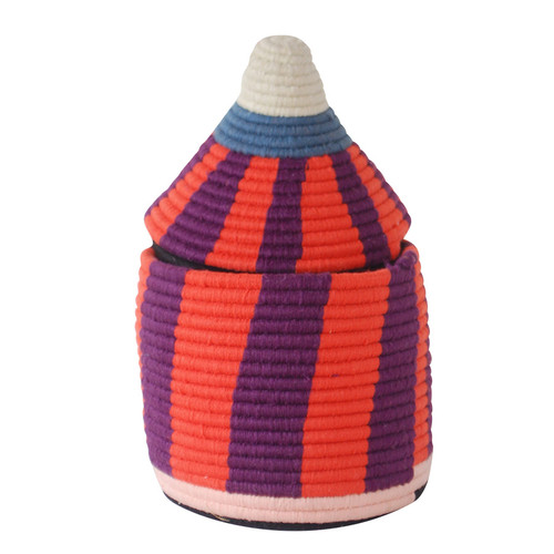 Moroccan Bread Basket, Coral & Purple
