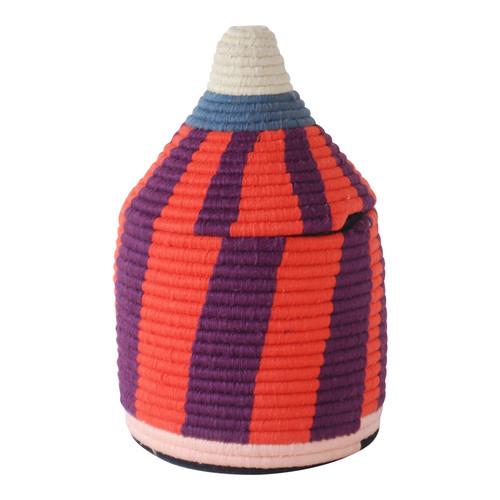 Moroccan Bread Basket, Coral & Purple