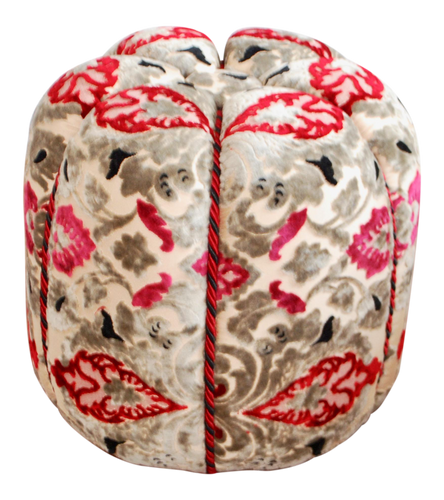 Moroccan Fabric Pouf,  Red & Grey Velvet