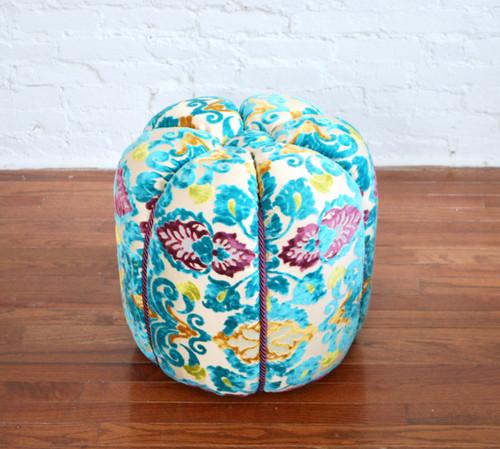 Moroccan Fabric Pouf,  Turqoise Velvet