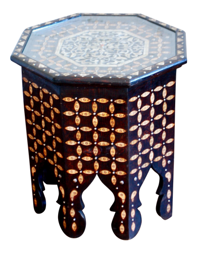 Moroccan Bone Inlaid Side Table