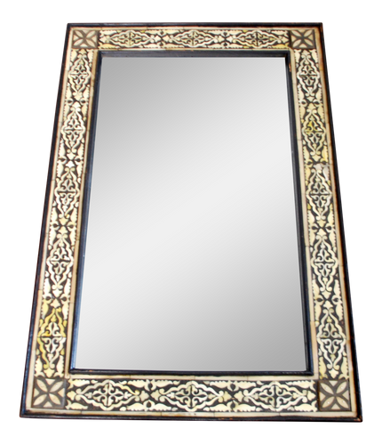 Moroccan White Bone Inlaid Mirror