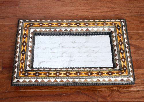 Moroccan Wood & Bone Inlay Mirror
