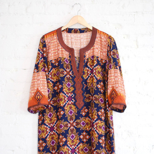 Moroccan Blue & Orange Kaftan