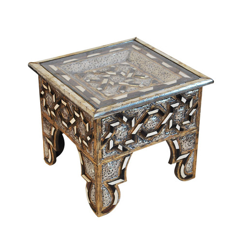 Moroccan Metal & Bone Inlaid Square Coffee Table