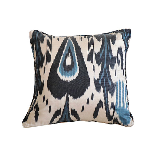 Ikat Pillow - Black & Blue Boukhara