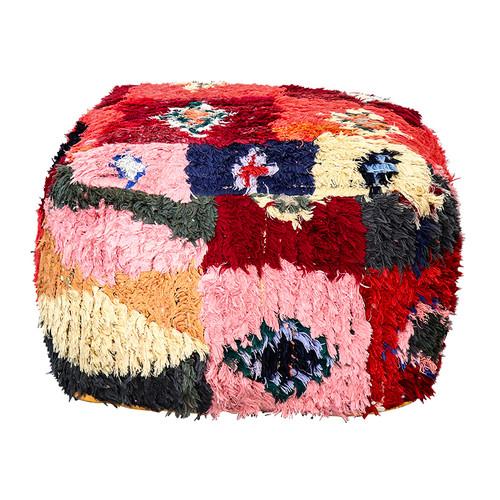 Boucherouite Rug Ottoman - Rosa