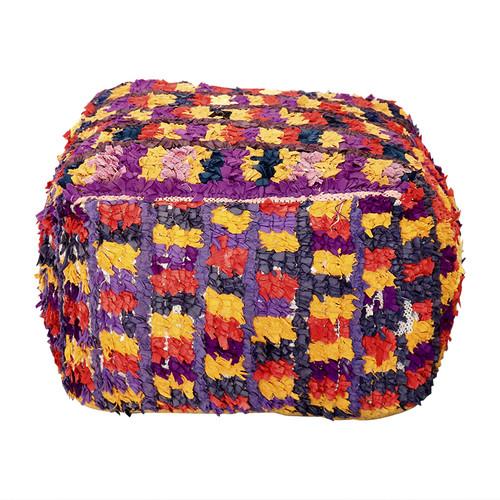 Boucherouite Rug Ottoman - Purple and Yellow