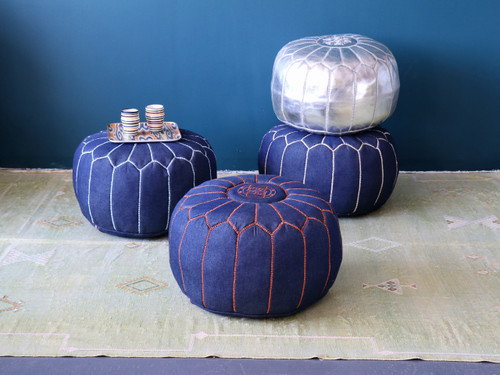 Moroccan Denim & Leather Pouf- Olya Blue